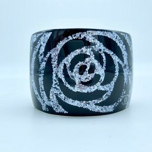 Chanel Black and Silver Camellia Flower Cuff